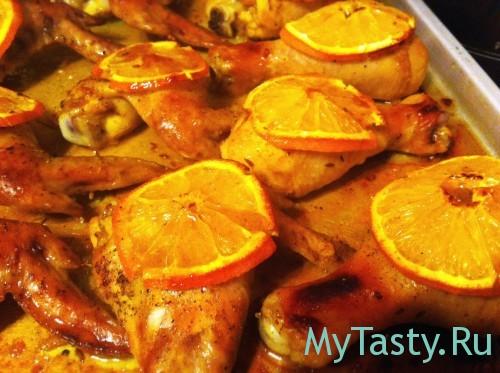 Курица под апельсинами